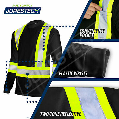 Black Hi Vis Shirt ANSI Class 1 Reflective Safety Long Sleeve HIGH VISIBILITY Class 1 Safety Vest