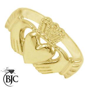 BJC-9kt-Oro-giallo-Claddagh-Irlandese-Anello-Da-Uomo-Formati-Multipli