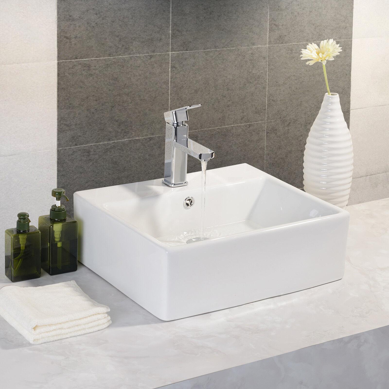 Uenjoy Waschbecken Rechteckig Design Waschschale Aufsatzwaschbecken