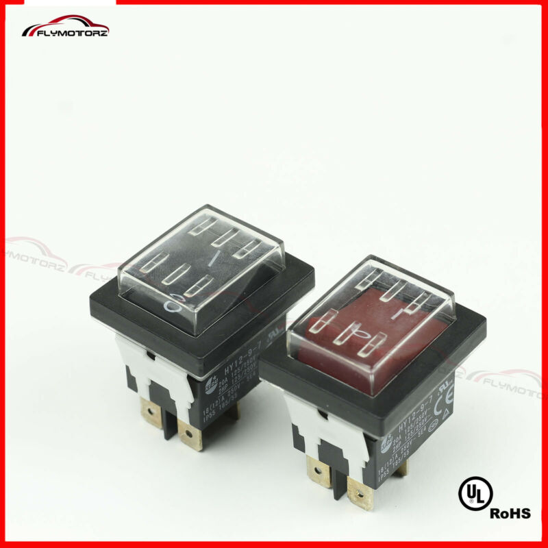 2 Pcs 2HP 20A 125/250VAC ON-OFF DPST Rocker Switch 4 Connections Water Proof UL