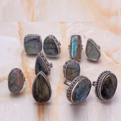 Labradorite Gemstone Handmade Ethnic 10 pcs Wholesale Lot Jewelry Ring Lot-804