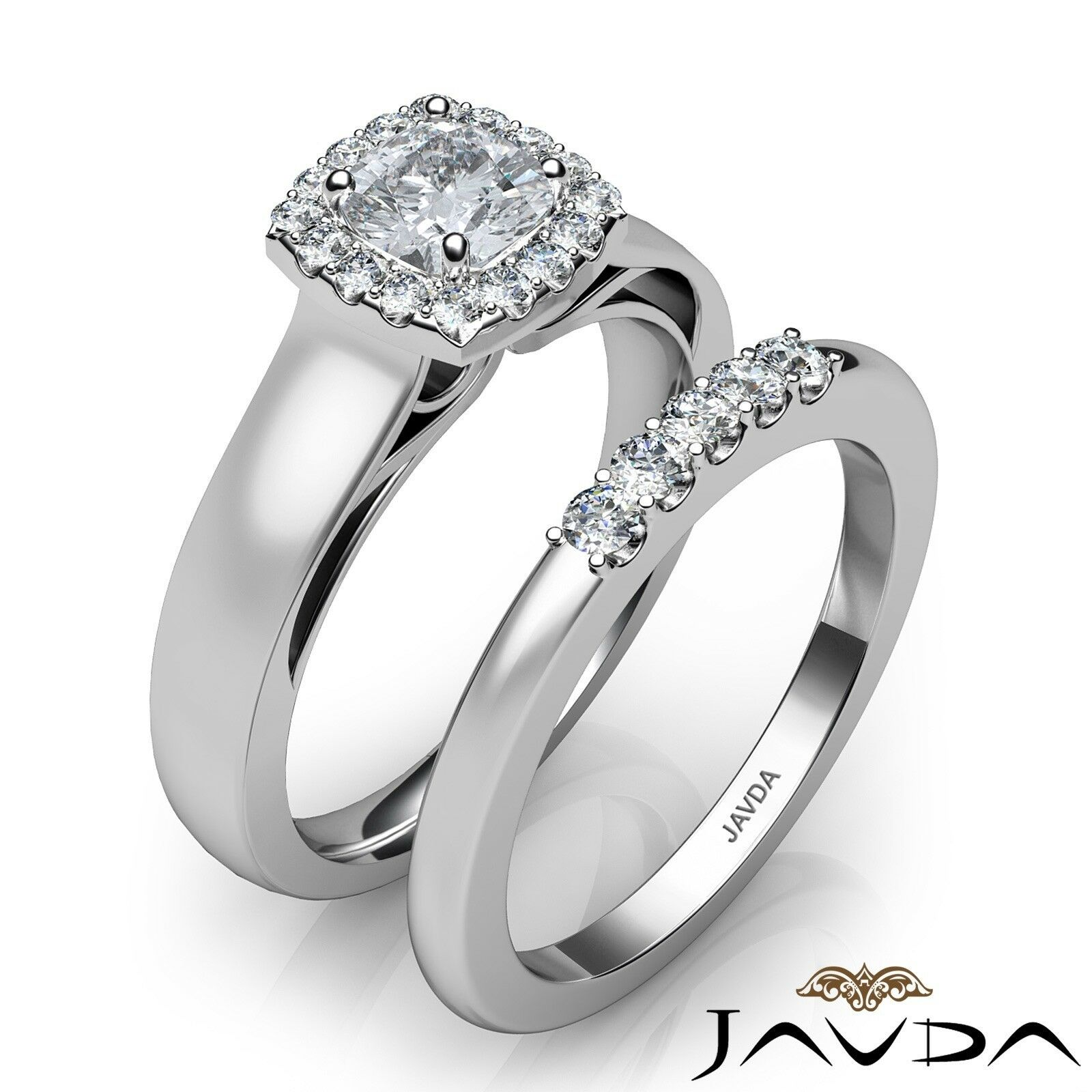 1.04ctw Solitaire Halo Bridal Cushion Diamond Engagement Ring GIA H-VS2 W Gold 2