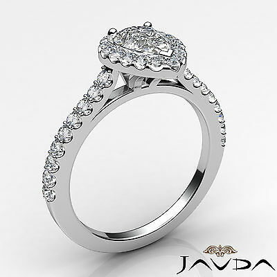 Halo Pear Diamond Engagement French U Pave Set Wedding Ring GIA H Color VVS2 1Ct 1
