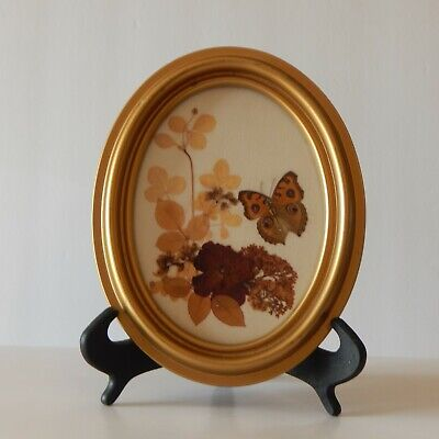 1960 Framed Mini Floral Wall Art-Mildred Roberts Collage Flowers & Butterflies
