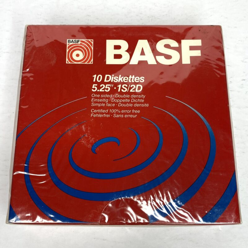 """BASF 10 Diskettes 5.25"""" 1S/2D One Sided Double Density 54304 - NEW SEALED"""