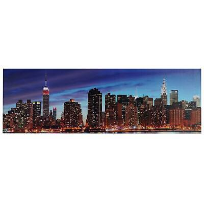 LED-Bild mit Beleuchtung, Leinwandbild, Timer 120x40cm New York flackernd