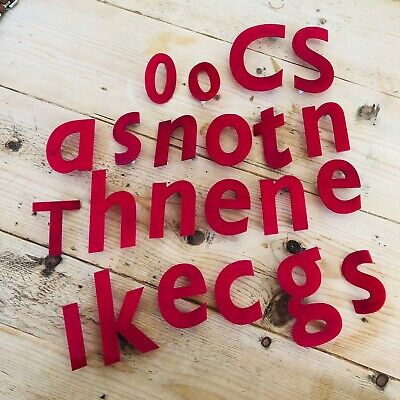 22 x Reclaimed Industrial Red Plastic Acrylic Raised Lowercase Letters Numbers
