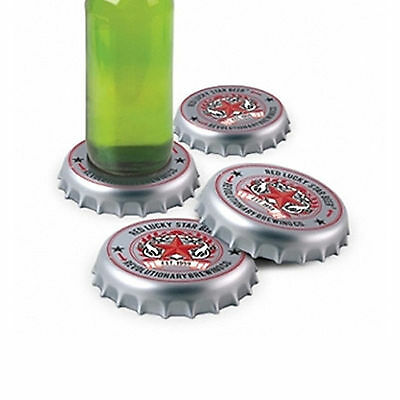 4PCS Drink Cup Beer Mat Coasters Set Coaster Holder Bottle Cap Shape Placemat
