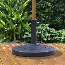 Resin Round Patio Umbrella Stand Base Coated Pole Parasol Holder Bronze