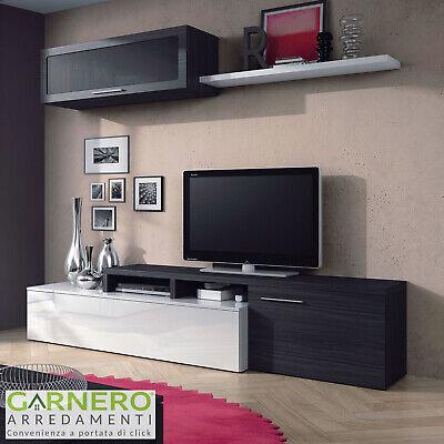 Parete Attrezzata Dal/ì Soggiorno Salotto Mobile Basso Sala da Pranzo in Legno con Mensola Mobile TV Arredo Casa Design Moderno 200cm x 43cm x 41//34 cm Colore Bianco e Rovere Canadese
