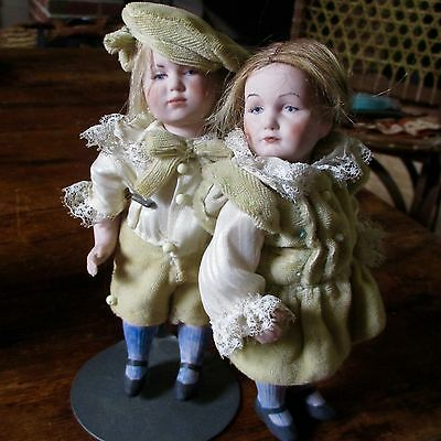 Antique Reproduction Simon Halbig Boy & Girl Doll Artist Dolls
