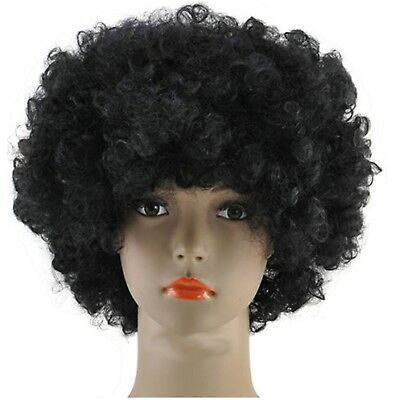 BLACK AFRO WIG + NOVELTY MOUSTACHE CURLY 80S 1980S FANCY DRESS WIG - Afro Moustache