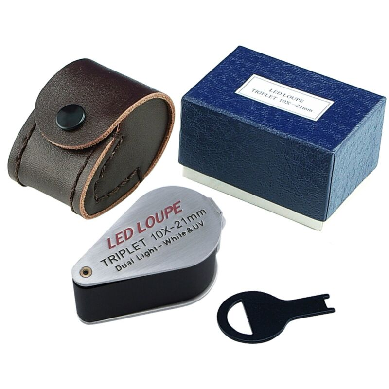 21mm Joyero Lupa 10x Ojo Aumento Lupa LED y luz UV Lente Tripleta   eBay 580df63827