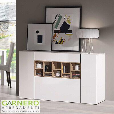 Credenza moderna MIMOSA mobile madia bianco lucido/legno ante cassetto design