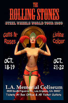 Classic: The Rolling Stones & GNR at L.A. Coliseum Concert Poster 1989 2nd PRINT