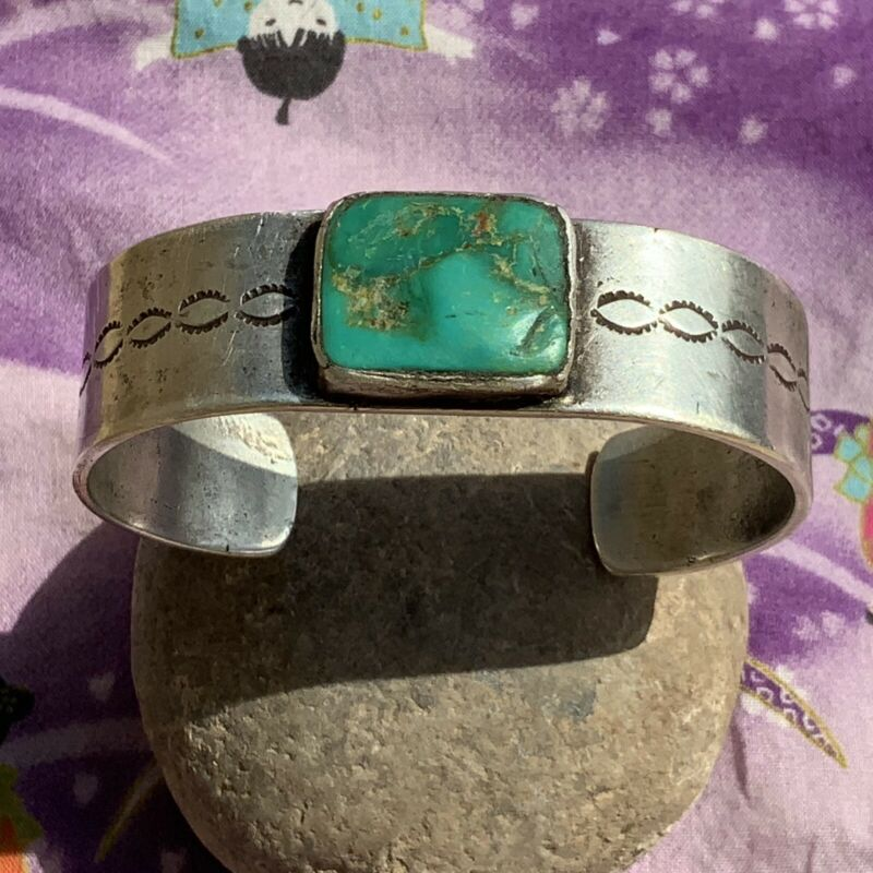 1900s Heavy Old Navajo Cerillos Turquoise Silver Ingot Wide MENS  Cuff Bracelet