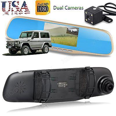 New HD 1080P Dual Lens Rearview Mirror Camera Car DVR Dash Cam Video Recorder