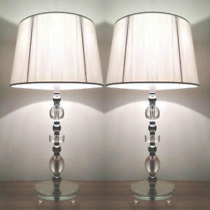 modern desk designer bedside table lamps with white shade glass base. Black Bedroom Furniture Sets. Home Design Ideas