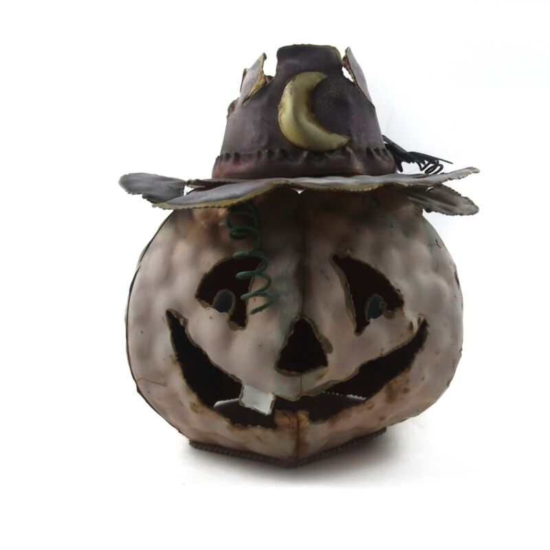 Metal Pumpkin Witch Hat Moon Candle Holder Lantern Cover Rustic Halloween Decor