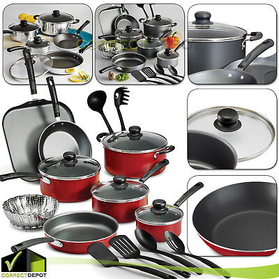 Nonstick Coated 9/18 Piece Pots & Pans Cookware Polished Set Cooking Kitchen