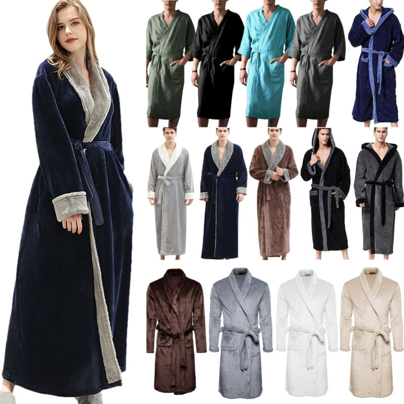 Men Classic Collar Bathrobe Spa Stripe Coral Fleece Kimono Soft Warm Robe