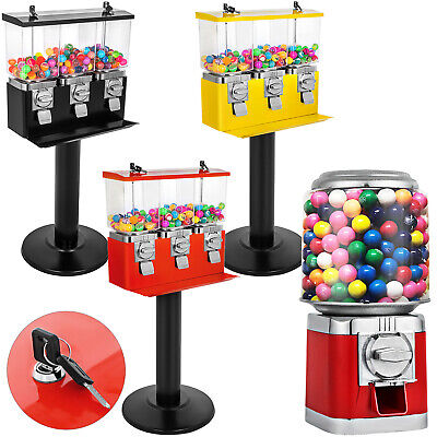 Gumball Machine Candy Vending With Stand Bubble Gum Dispenser Bank W Keys