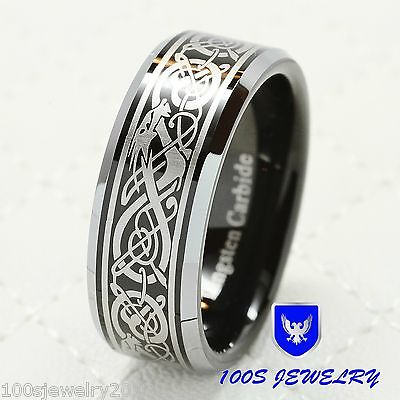 8mm Tungsten Carbide Ring Celtic Dragon Scroll Engraved W...