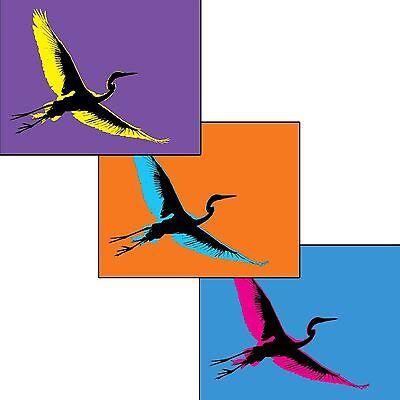 SET OF 3 - Japanese Heron SHIRASAGI bird like crane - Greeting/Note Cards Blank