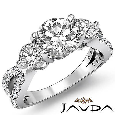 3 Stone Split Shank Round Diamond Engagement Shared Prong Ring GIA H SI1 2.3 Ct