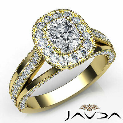 Milgrain Halo Bezel Cushion Diamond Engagement Split Shank Ring GIA G VS2 1.4Ct
