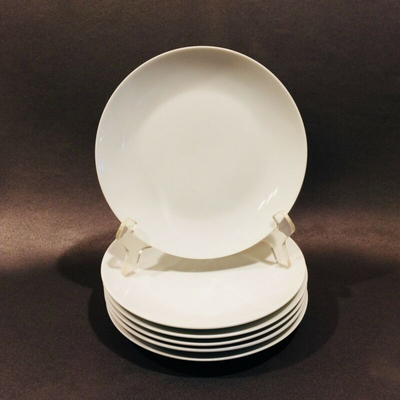 "Fitz & Floyd Everyday White Coupe Salad Plates, Set Of 6 ~ 7 1/2"" Plates"