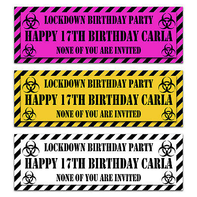 2x Personalised Lock down quarantine text Birthday Party Banner Any name and Age