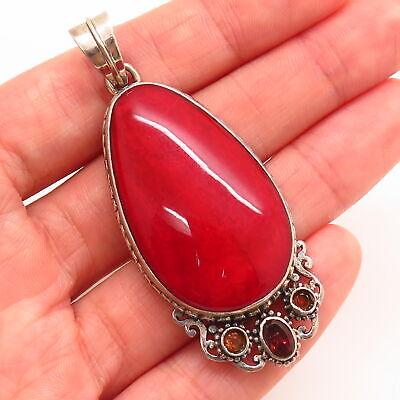 925 Sterling Silver Vintage Real Large Red Jasper Garnet Citrine Gem Pendant