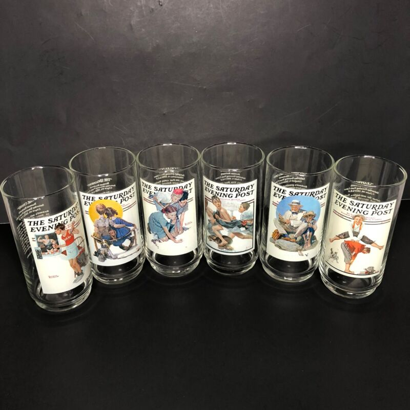 Complete Set of 6 -Norman Rockwell The Saturday Evening Post Arby's Glasses