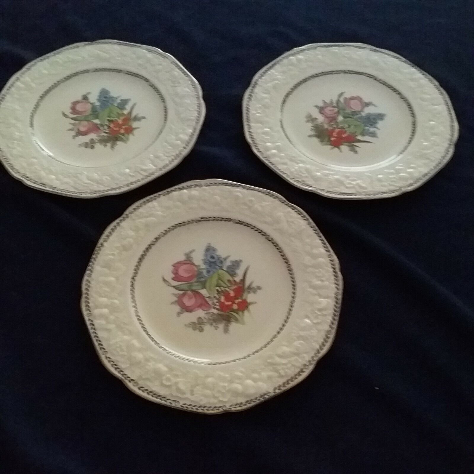 Crown Ducal Florentine Salad Plates Set of 3 Made in England