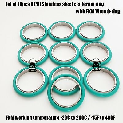 Kf40 Stainless Steel Vacuum Centering Ring With O-ring Fkm Viton 10 Pcs Pack
