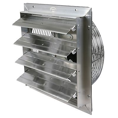 Industrial Exhaust Fan 16 In. Select Speed Shutter Wall Mount Garage Ventilator