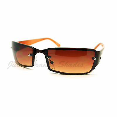 Small Narrow Rectangular Rimless Fashion Unisex Sunglasses Brown