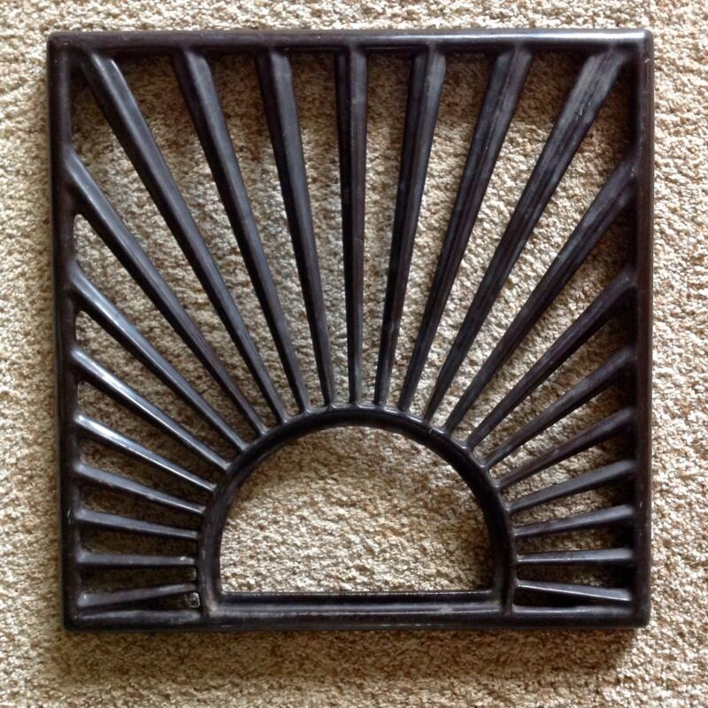 Vintage Heater Grate Art Deco Sunburst Porcelain Cast Iron Architectural Salvage