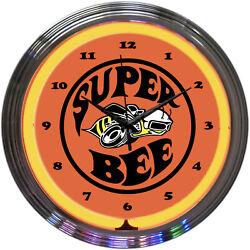 Dodge Super Bee Mopar Logo Orange Neon Hanging Wall Clock 15 Diameter 8SUPER