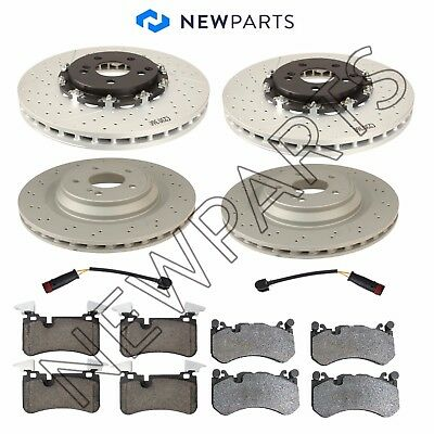Mercedes R230 W211 SL-Class Front & Rear Brake Rotors and Pads with Sensors Kit