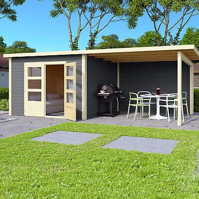 Gartenhaus Gerätehaus Geräteschuppen Holz Blockhaus HORI Skagen Anbau grau 28 mm