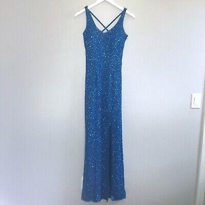 Women's Vintage Prom Maxi Dress 2 Small Evening Ball Gown Blue Sequin Cutout Sli Blue Sequin Ball Gown