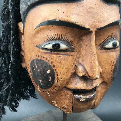Antique Large Tête de Puppet Wood Carved on base Indonesia Bali