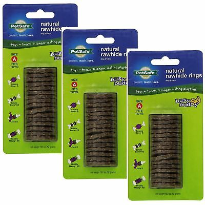 PetSafe/Premier Busy Buddy RAWHIDE GNAWHIDE RINGS Dog Treat Refills Small 3 PACK