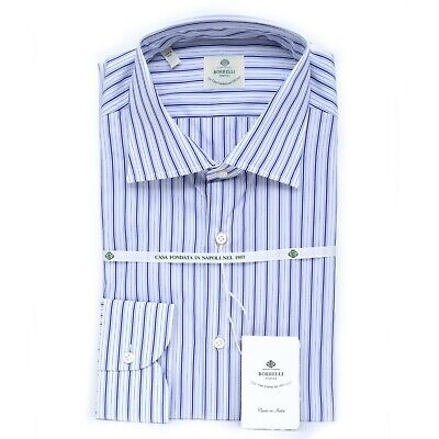 $375 NWT Luigi BORRELLI Blue White Striped Classic Fit Cotton Dress Shirt 17 43
