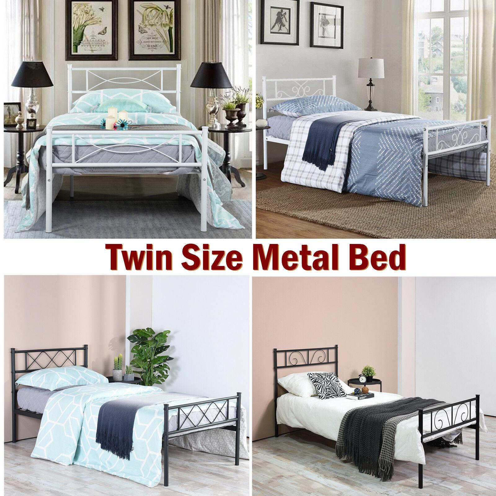 Twin Size Heavy Duty Metal Bed Frame Mattress Foundation wit