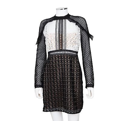 Self Portrait Black and White Geometric-Lace Long-Sleeve Mini Dress - Size 6](Geometric Portrait)