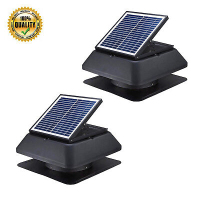 2x 20w Solar Power Attic Fan 1520 Cfm Roof Ventilation Exhaust Vent Super Quiet