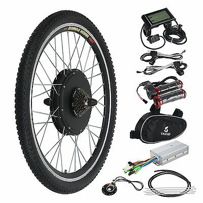 "26"" Electric Bicycle Rear Wheel Conversion Kit LCD Meter E Bike Motor Hub"